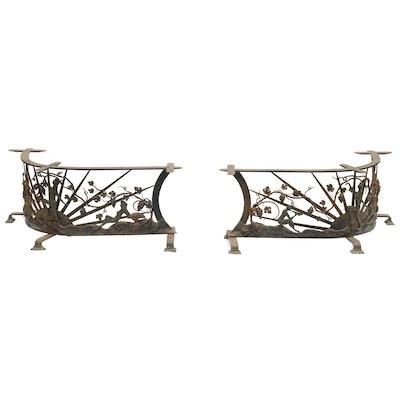 Pair of Art Deco Semicircle Wrought Iron Enchanted Garden Fireside Benches