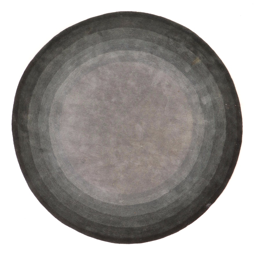 """7'9 Round Hand-Tufted Home Decorators Collection """"Noah"""" Area Rug, 2000s"""