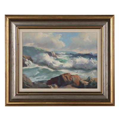 Alphonse J. Shelton Seascape Oil Painting, Mid-20th Century