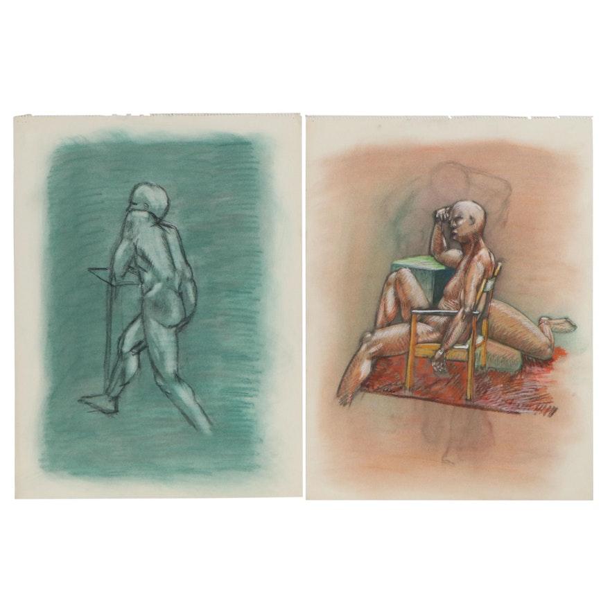 Robert Szesko Pastel and Charcoal Figure Drawings