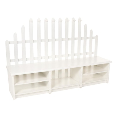 White-Painted Picket Fence Style Entry Bench with Storage