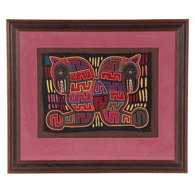 Panamanian Guna Mola Folk Art Textile Panel, Late 20th to 21st Century