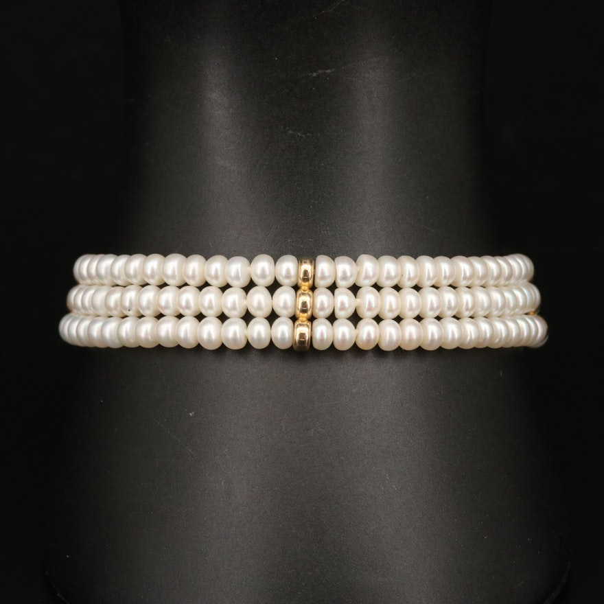 Triple Strand Pearl Bracelet with 14K Findings