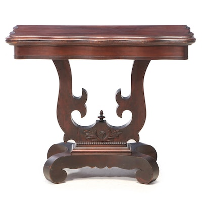 American Classical Flame Mahogany Serpentine Games Table, Mid-19th Century
