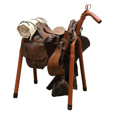 US Army Cavalry McClellan Leather Saddle and Accessories, Early 20th Century