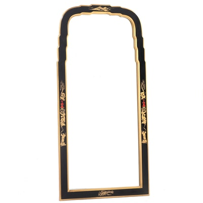 Ebonized, Parcel-Gilt, and Chinoiserie-Decorated Mirror, Late 20th Century