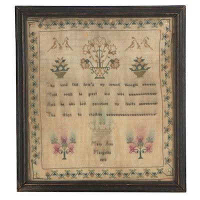 Mary Ann Margetts Cross-Stitch Needlework Sampler, 1810