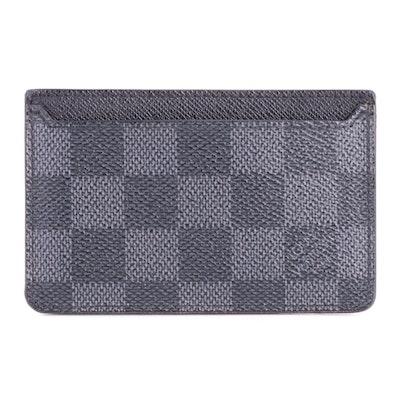 Louis Vuitton Porte Cartes in Damier Graphite Canvas and Taïga Leather