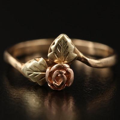 Vintage 10K Tri-Color Gold Rose Bud Ring