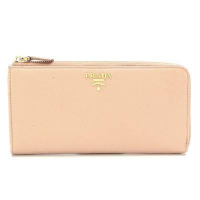Prada Large Zipper Wallet in Blush Saffiano Leather