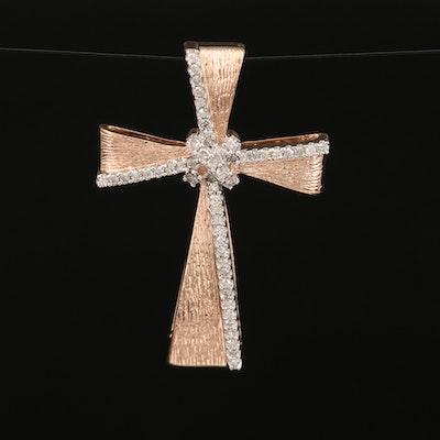 10K Diamond Cross Slide Pendant