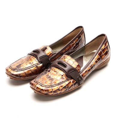 Sesto Meucci Croc-Embossed Patent Leather Driving Shoes with Brown Leather Trim