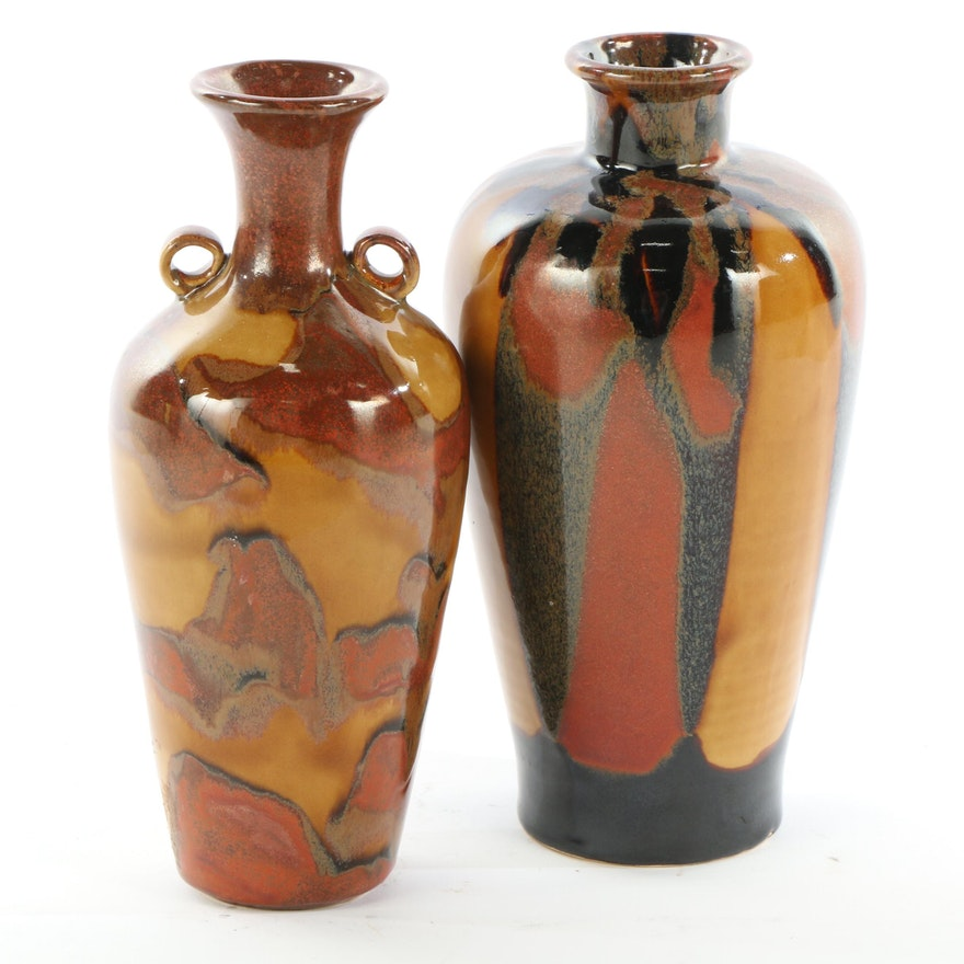 Art Pottery Amber Glazed Ceramic Vases