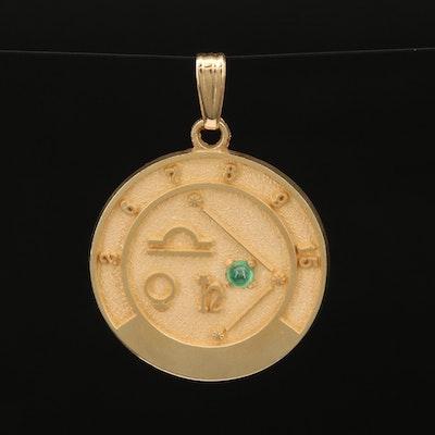 14K Libra Zodiac Pendant with Emerald Accent