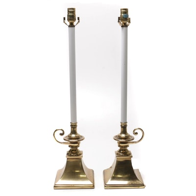 Pair of Rembrandt Lamp Company Brass Candlestick Lamps, Late 20th Century