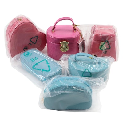 Rowallan Pink and Blue Leather Vanity Cases