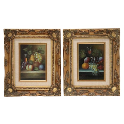 Still Life Oil Paintings of Fruits and Glasses, Late 20th Century