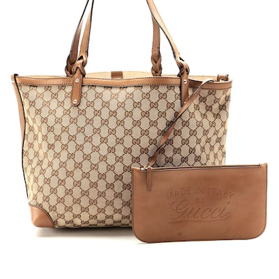 Gucci GG Canvas and Tan Leather Tote Bag with Pouch