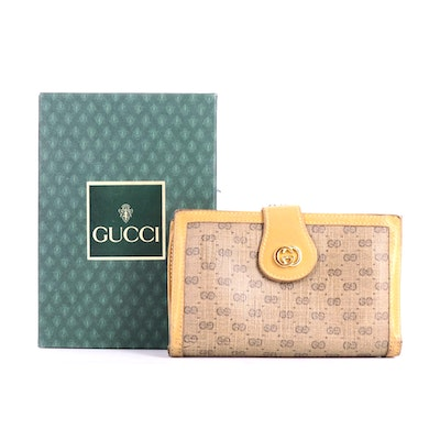 Gucci Continental Wallet in Micro GG Coated Canvas and Leather with Box