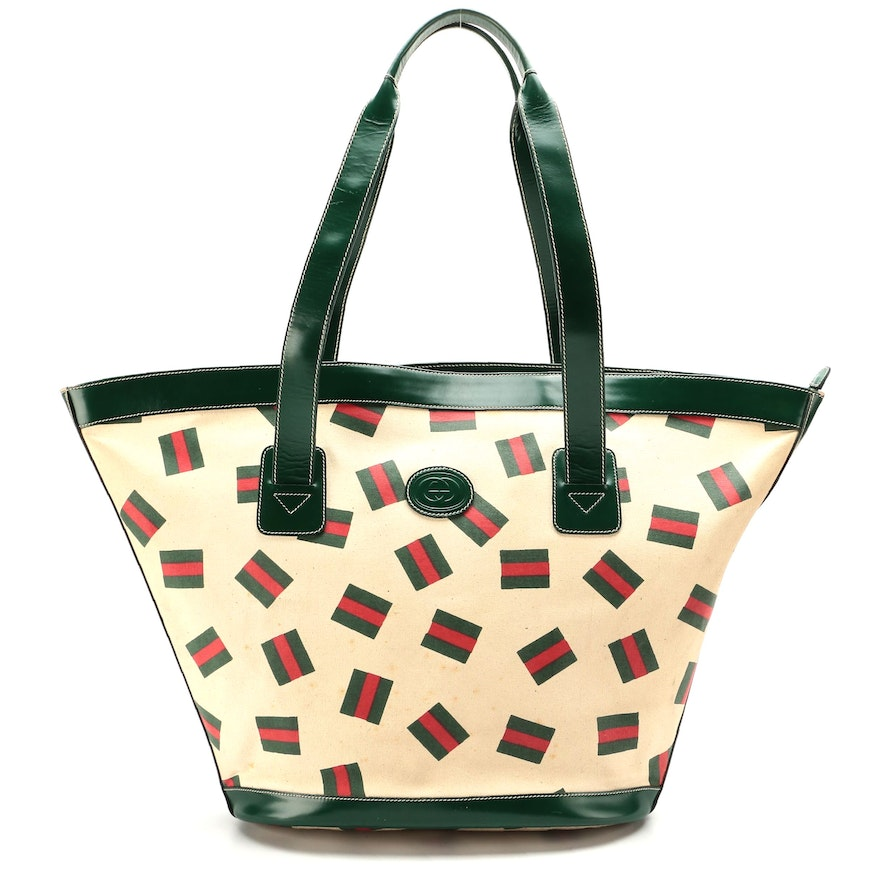 Gucci Web Stripe Print Bucket Tote with Green Leather Trim