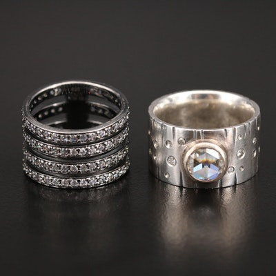 Italian Sterling Moissanite and Cubic Zirconia Bands