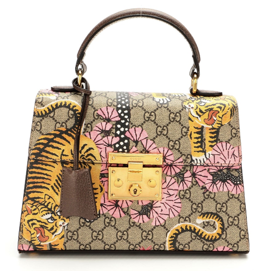 Gucci Padlock Top Handle Bag in Bengal Tiger Print GG Supreme Canvas