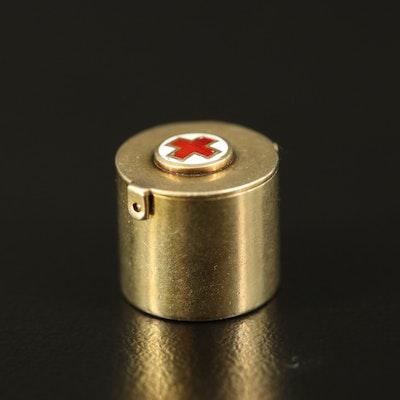 Vintage 14K Red Cross Capsule Charm