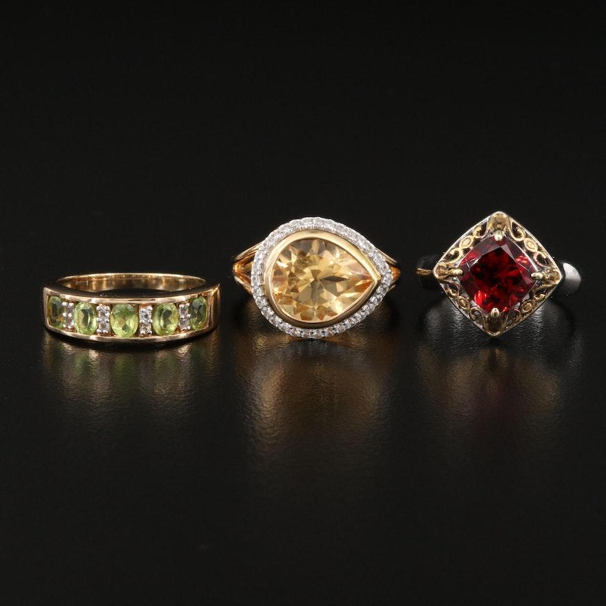 Sterling Silver Citrine, Garnet, Peridot and White Topaz Rings