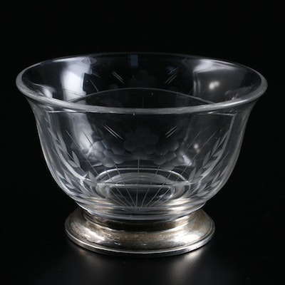 Etched Glass Sterling Silver Footed Divided Condiment Bowl , Mid-20th Century