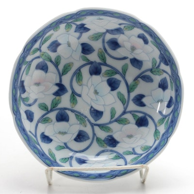 Maebata Japanese Porcelain Floral Bowl, Late 20th Century