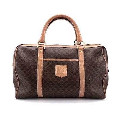 Celine Duffle Handbag in Macadam Canvas with Leather Trim