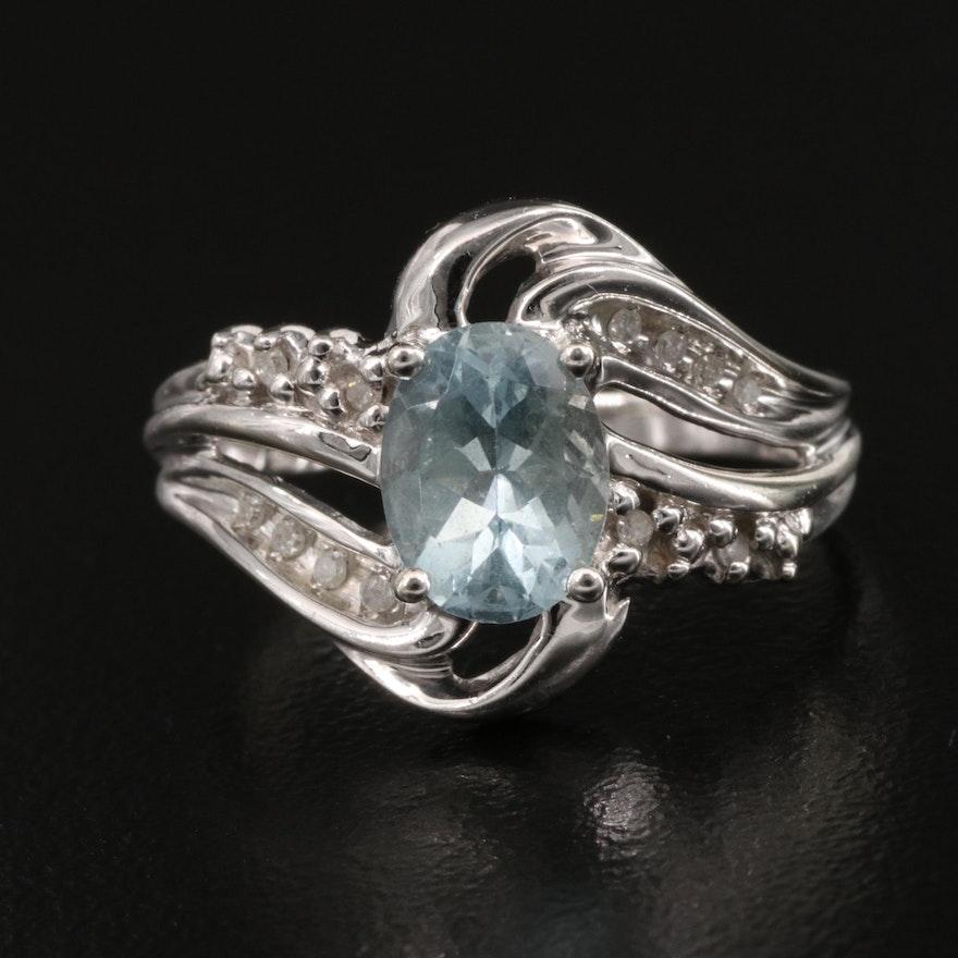 10K Aquamarine and Diamond Ring