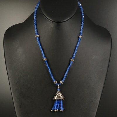 Sterling Faceted Blue Glass Beaded Tassel Necklace