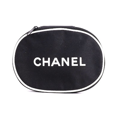 Chanel Promotional Makeup Case in Black Canvas with White Lettering and Piping