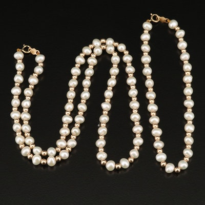 Pearl and 14K Bead Necklace and Bracelet