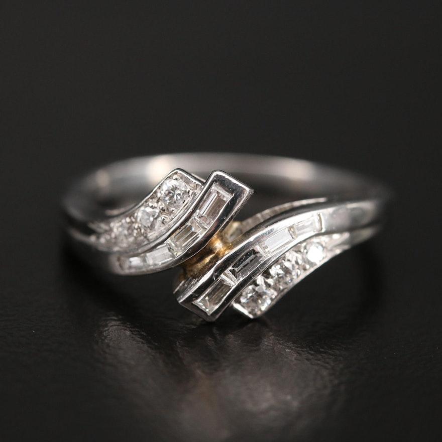 Platinum Diamond Bypass Style Ring