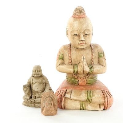 Carved Wood and Resin Buddha and Budai Figurines