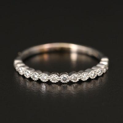 14K Diamond Bezel Ring with Milgrain Detail