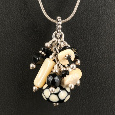 Sterling Tassel Glass Charm Pendant Necklace