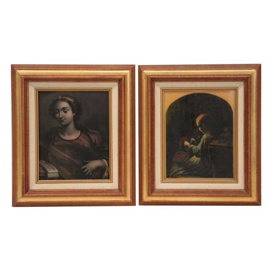 Embellished Etched Metal Plates after Albert Henry Payne and Domenichino