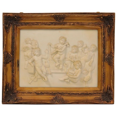 Cast Plaster Bas Relief Sculpture of Cherubs Playing, Late 20th Century