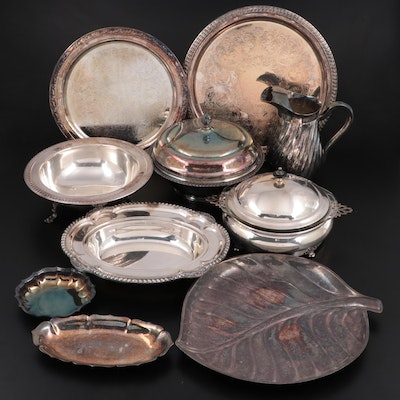F.B. Rogers and Other Silver Plate Serveware with Pyrex Baking Dishes