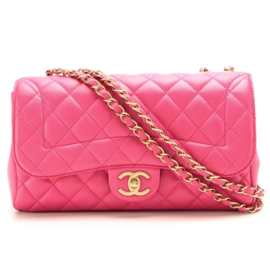 Chanel Diana Medium Classic Flap Bag in Pink Quilted Lambskin Leather