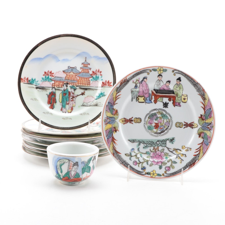 Chinese and Japanese Porcelain Plates and Teacup