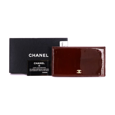Chanel CC Bifold Wallet in Bordeaux Patent Leather