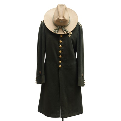 Indian Wars Era Military or Fraternal Veteran Frock Coat with Campaign Style Hat