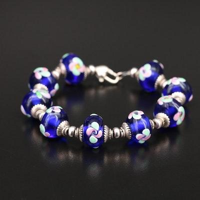 Sterling Glass Floral Lampwork Bead Bracelet