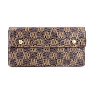 Louis Vuitton Portefeuille Accordeon Wallet in Damier Ebene Canvas