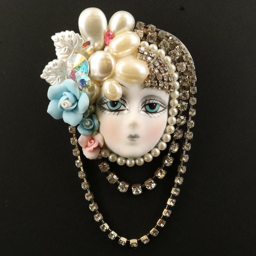Art Deco Inspired Feminine Visage Rhinestone Brooch