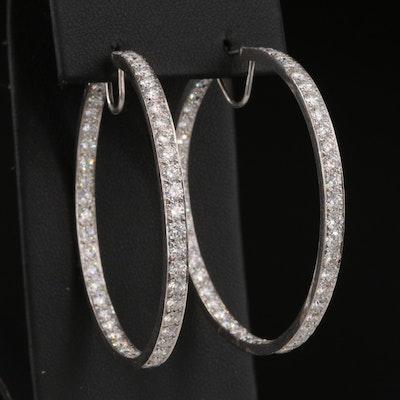 18K 7.00 CTW Diamond Inside-Out Hoop Earrings